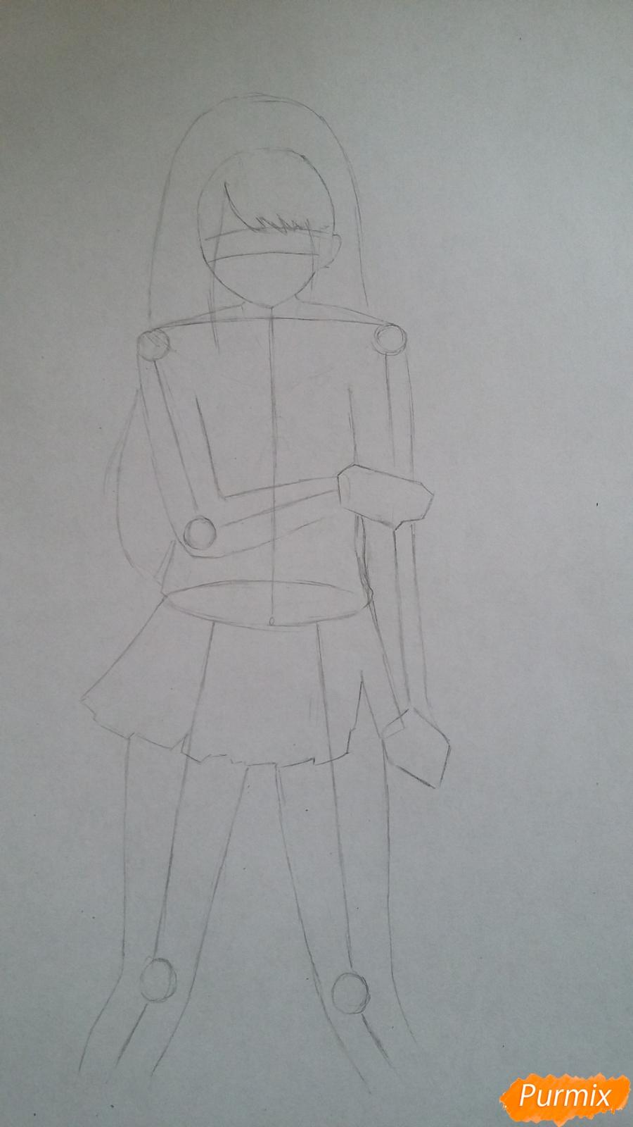 Рисуем девушку с катаной в аниме стиле - шаг 2