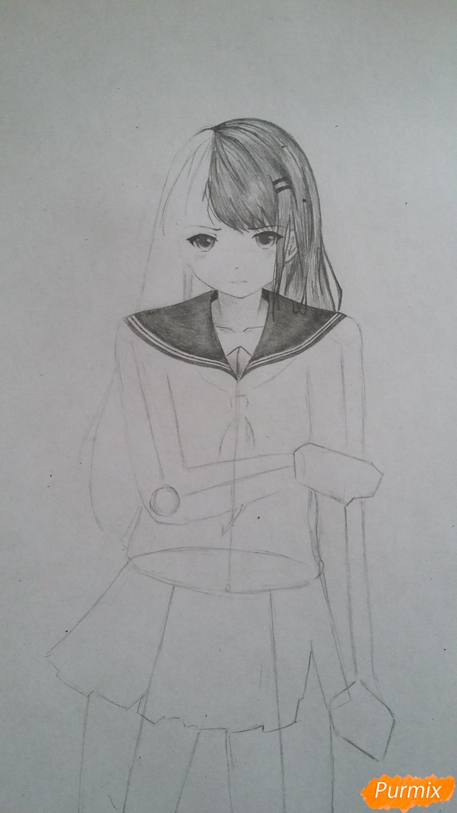 Рисуем девушку с катаной в аниме стиле - шаг 6