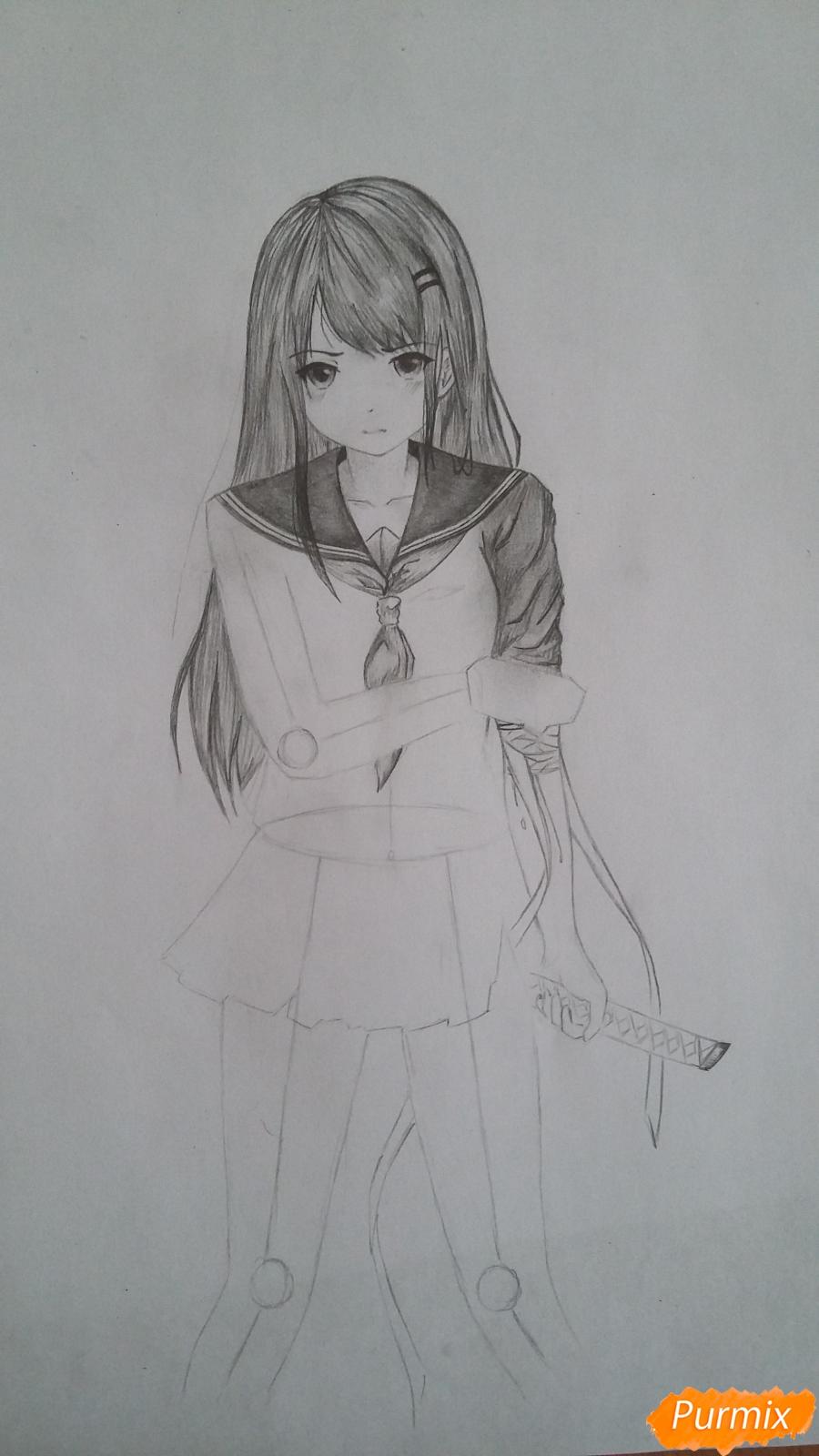 Рисуем девушку с катаной в аниме стиле - шаг 9