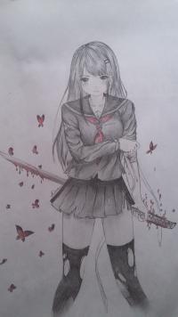 Рисунок девушку с катаной в аниме стиле