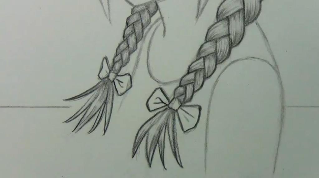 Как рисовать косу в стиле аниме