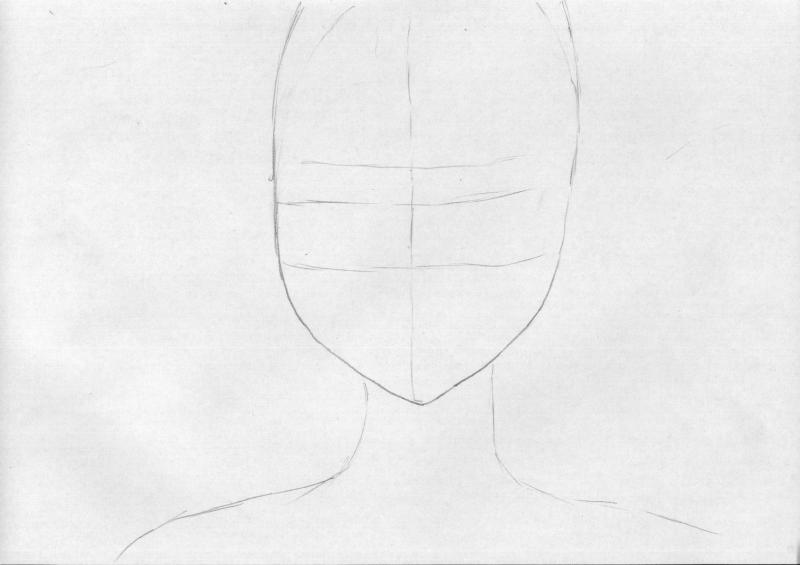 Рисуем голову девушку с наушниками - шаг 1
