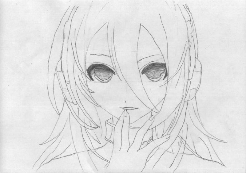 Рисуем голову девушку с наушниками - шаг 4