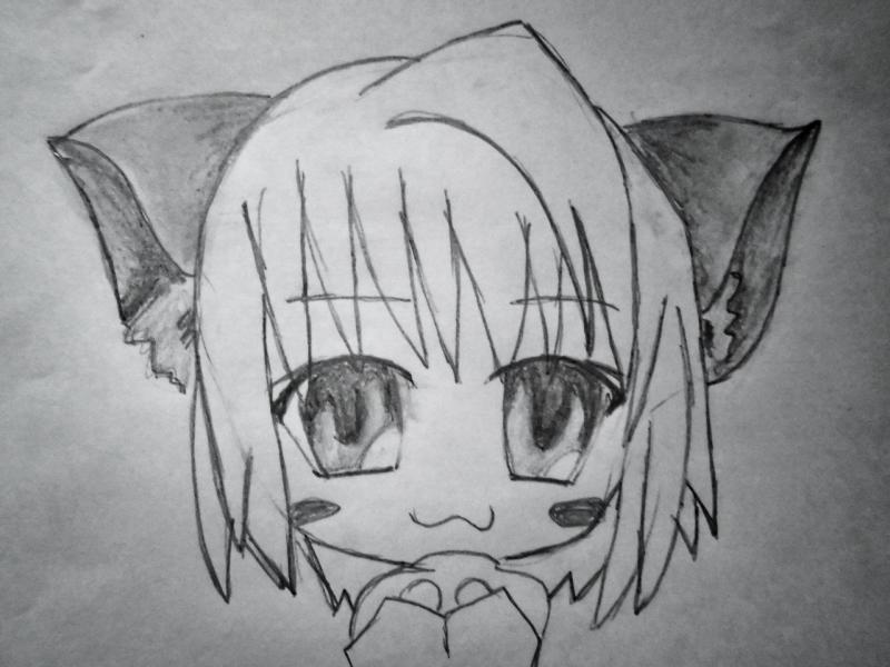 Рисуем чиби  девушку с кошачьими ушками - шаг 5