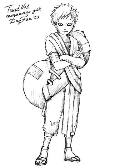 Как нарисовать Гаара в полный рост карандашом поэтапно | Аниме Манга