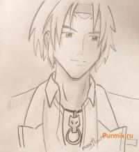 Гинъэя «Гина» Мориока из Розарио + Вампир простым карандашом