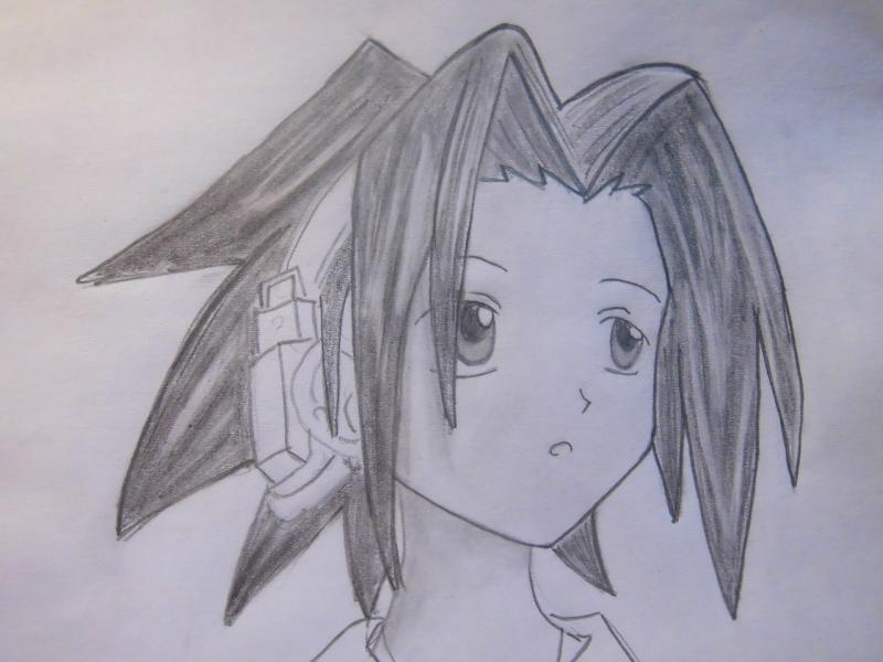 Рисуем голову Йо Асакуры из Шаман Кинг