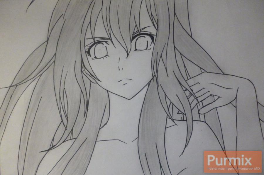 Рисуем Хакадзэ Кусарибэ из аниме Буря потерь