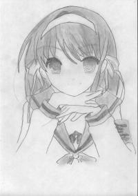 Как нарисовать Харухи Судзумия на бумаге карандашом