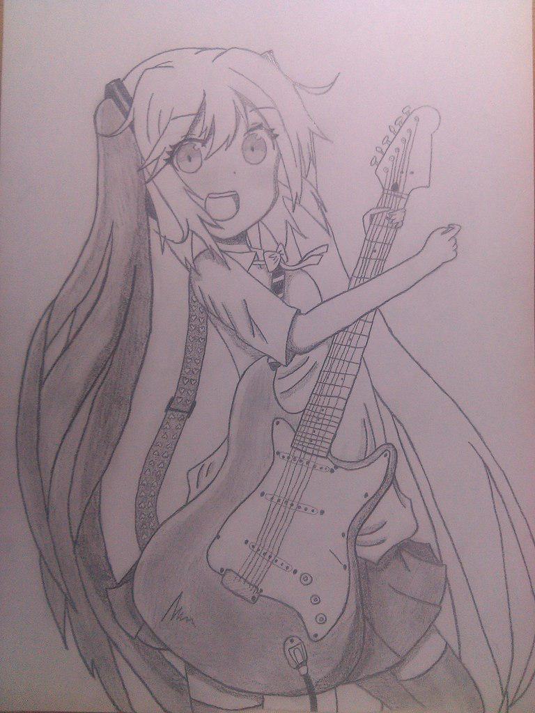 Рисуем Хатсуне Мику с гитарой в руках - шаг 10