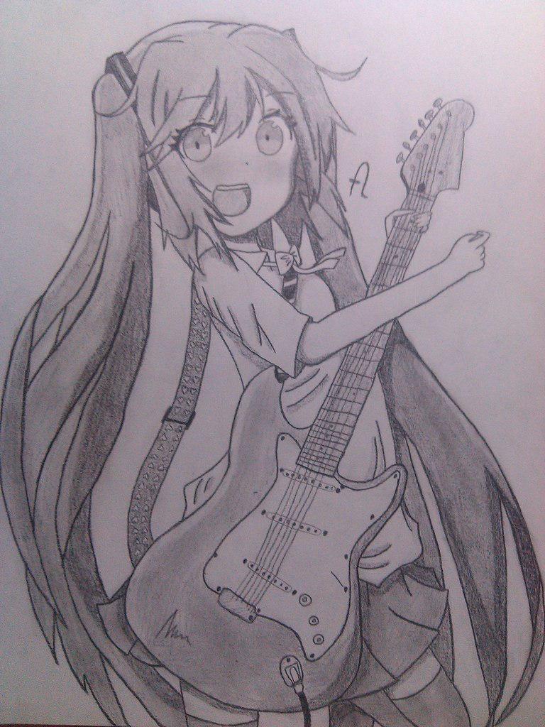 Рисуем Хатсуне Мику с гитарой в руках - шаг 11