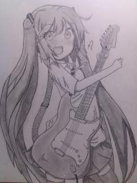 Как нарисовать Хатсуне Мику с гитарой в руках поэтапно