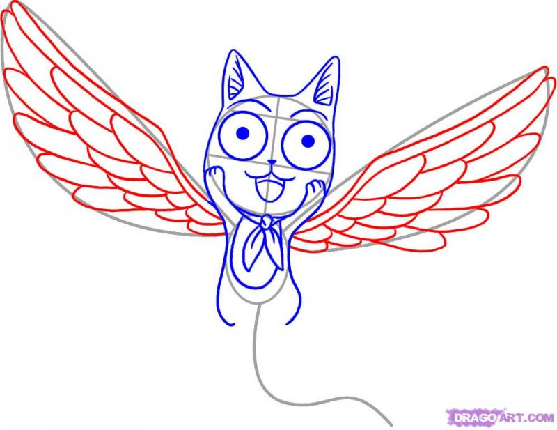 Рисуем Хеппи с крыльями карандашами - шаг 4