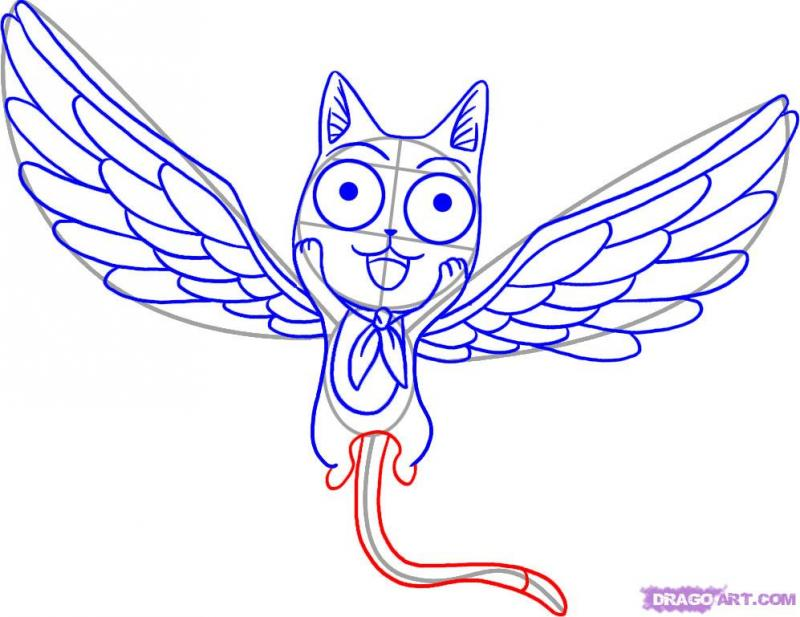 Рисуем Хеппи с крыльями карандашами - шаг 5