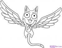 Как нарисовать Хеппи с крыльями из Хвост Феи поэтапно