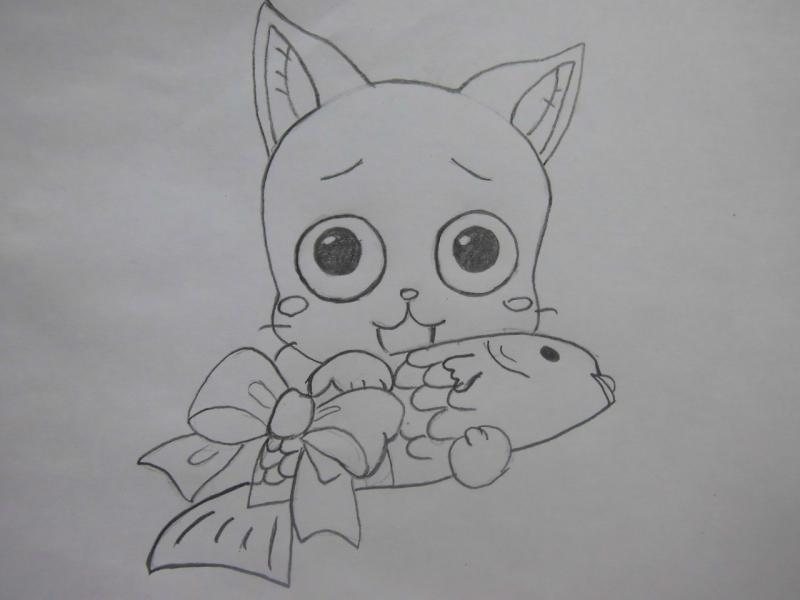 Рисуем Хэппи с рыбой из Сказка о хвосте феи