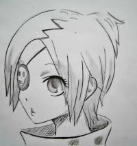 Хроме Докуро из аниме Реборн карандашом