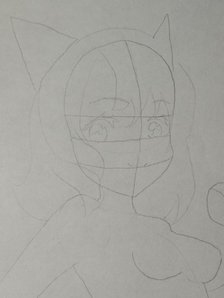 Рисуем аниме девушку-кошку карандашами - шаг 4