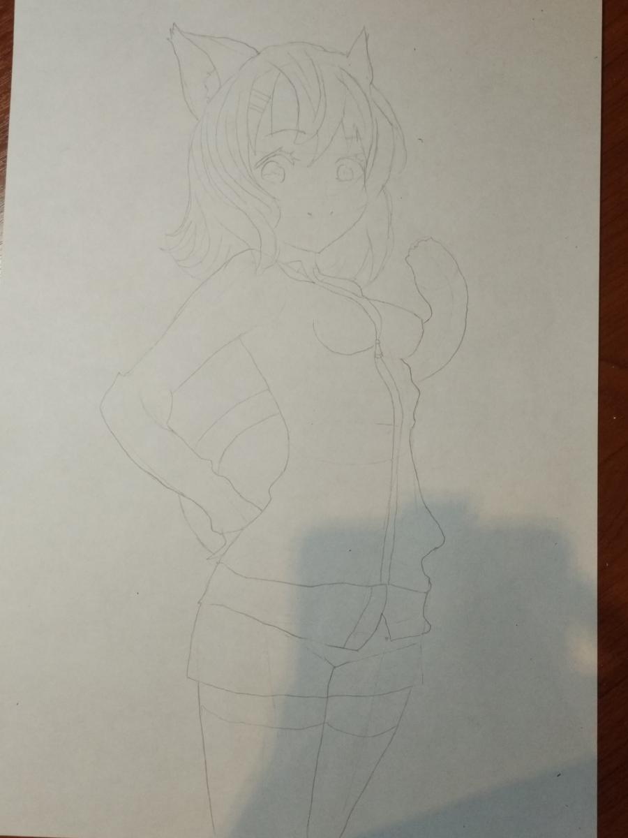 Рисуем аниме девушку-кошку карандашами - шаг 6
