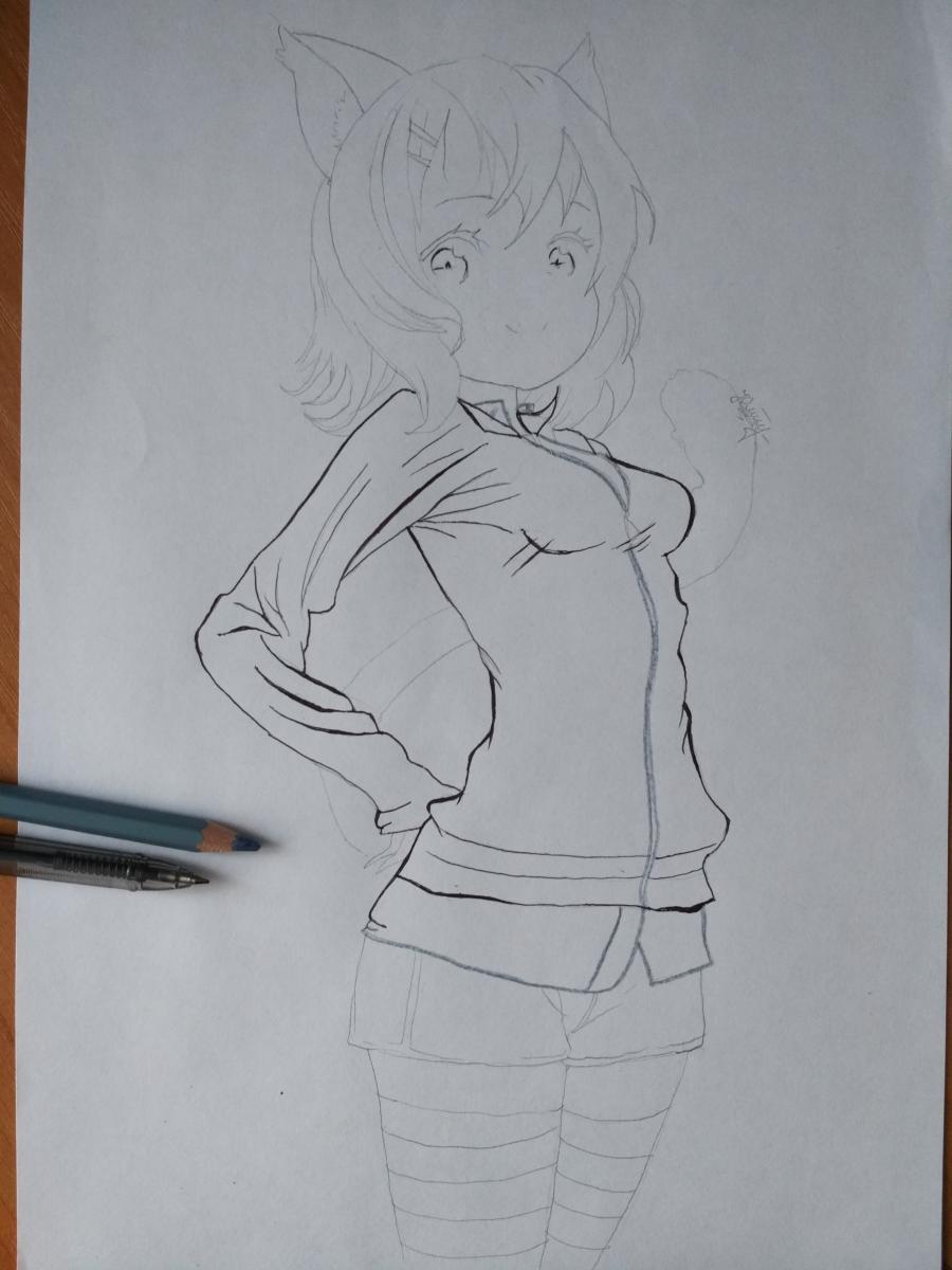 Рисуем аниме девушку-кошку карандашами - шаг 8