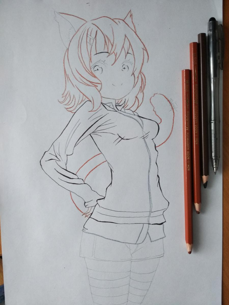 Рисуем аниме девушку-кошку карандашами - шаг 9