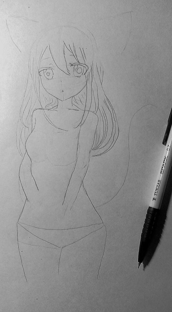 Рисуем и раскрасить аниме девушку-кошку в капюшоне - шаг 10