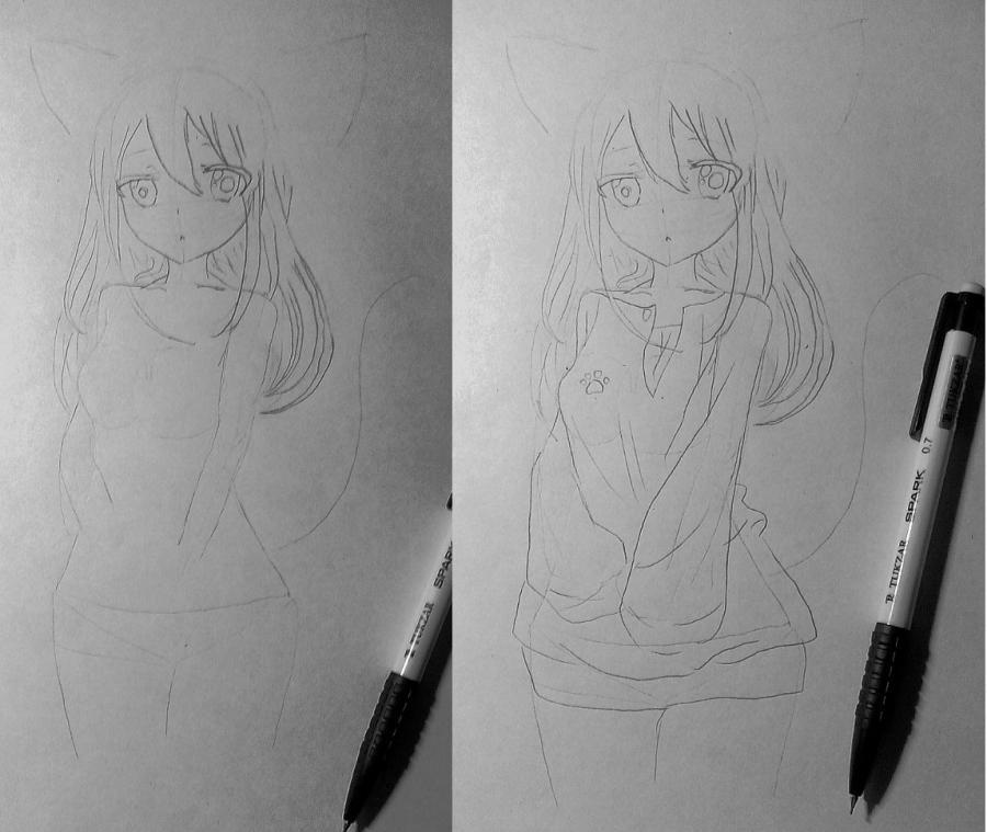 Рисуем и раскрасить аниме девушку-кошку в капюшоне - шаг 11