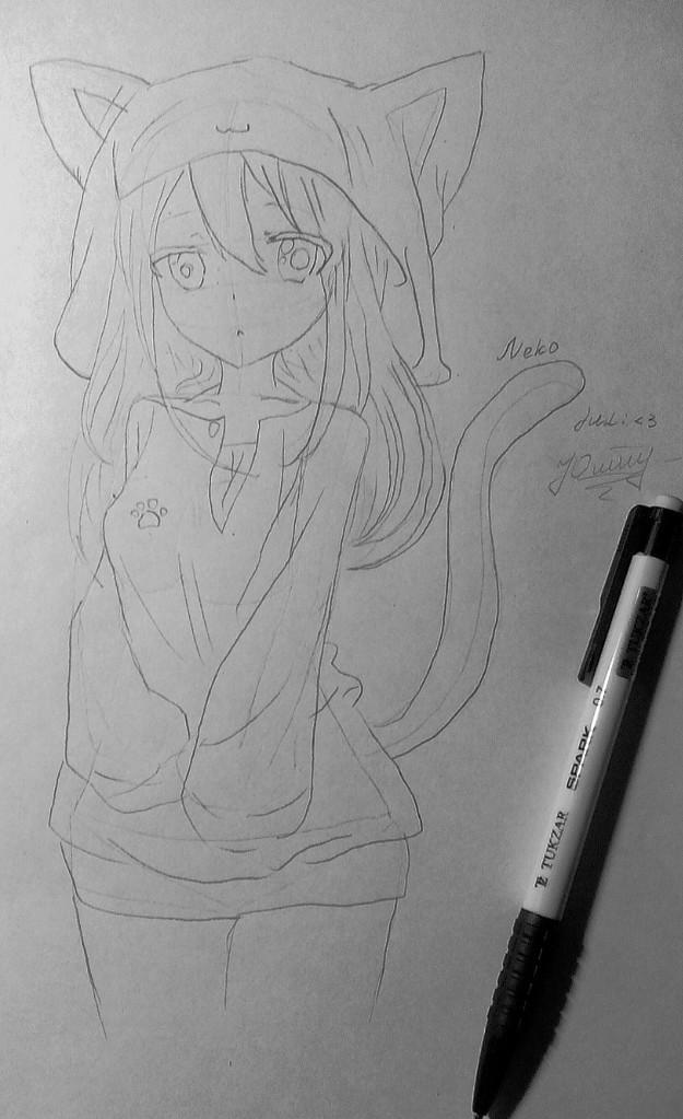 Рисуем и раскрасить аниме девушку-кошку в капюшоне - шаг 12
