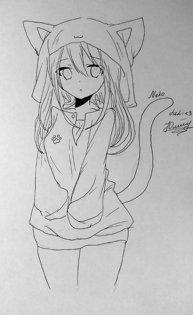 Рисуем и раскрасить аниме девушку-кошку в капюшоне - шаг 13