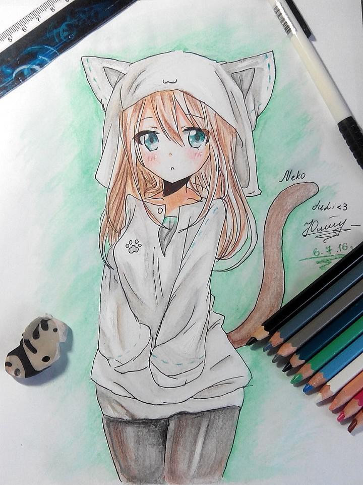 Рисуем и раскрасить аниме девушку-кошку в капюшоне - шаг 15