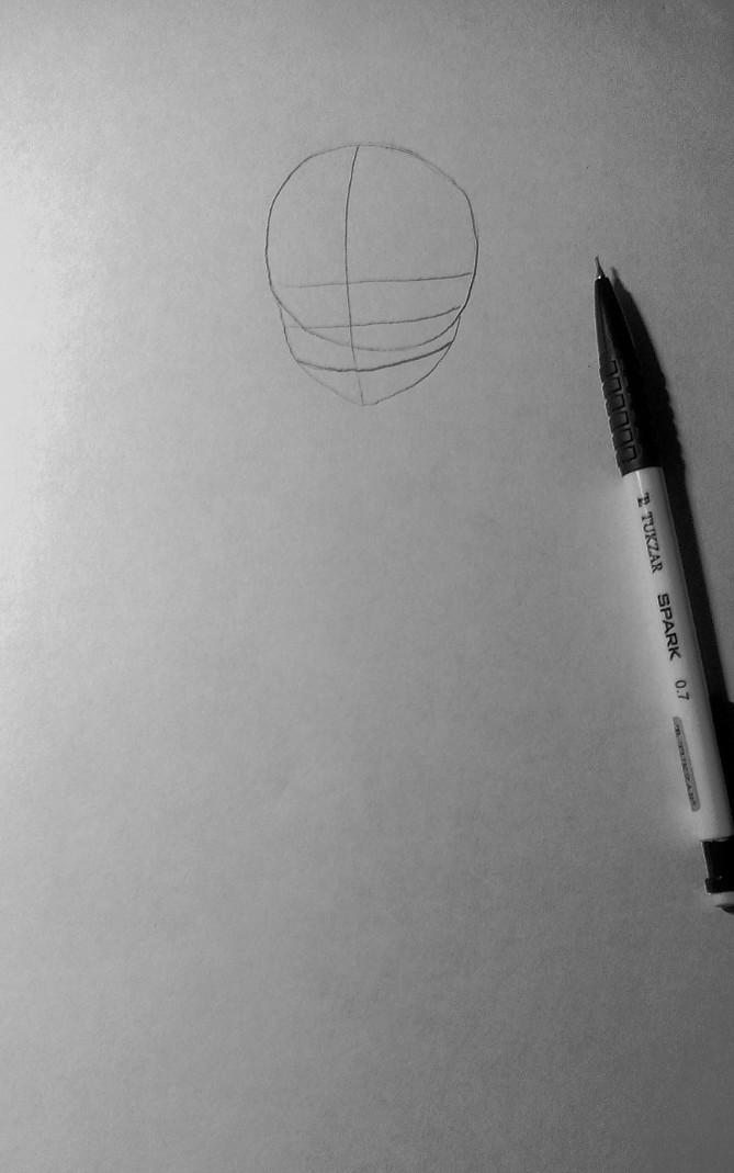 Рисуем и раскрасить аниме девушку-кошку в капюшоне - шаг 2
