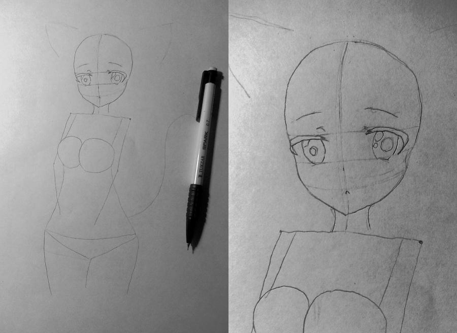 Рисуем и раскрасить аниме девушку-кошку в капюшоне - шаг 6