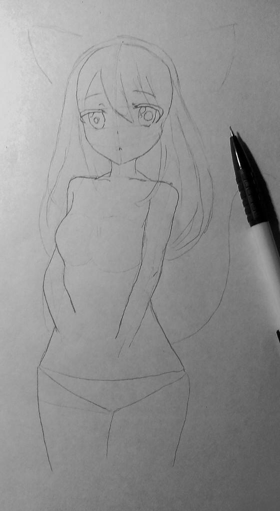 Рисуем и раскрасить аниме девушку-кошку в капюшоне - шаг 9
