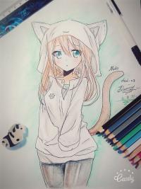 Рисунок и раскрасить аниме девушку-кошку в капюшоне