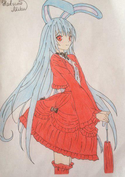 Рисуем и раскрасить аниме девушку-кролика караендашами - фото 10