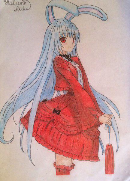 Как нарисовать и раскрасить аниме девушку-кролика караендашами поэтапно