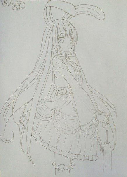 Рисуем и раскрасить аниме девушку-кролика караендашами - фото 8