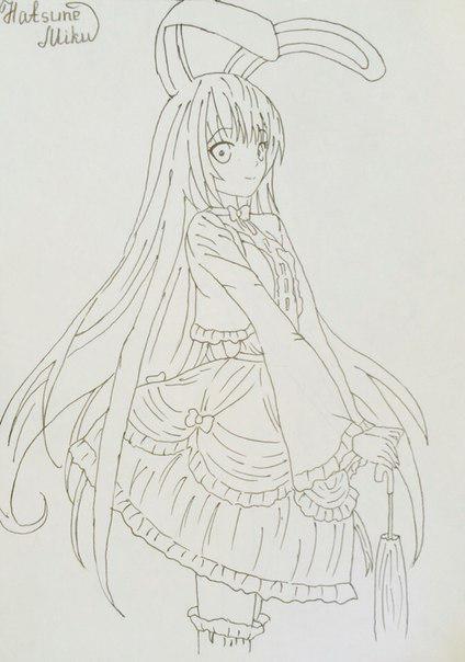 Рисуем и раскрасить аниме девушку-кролика караендашами - фото 9