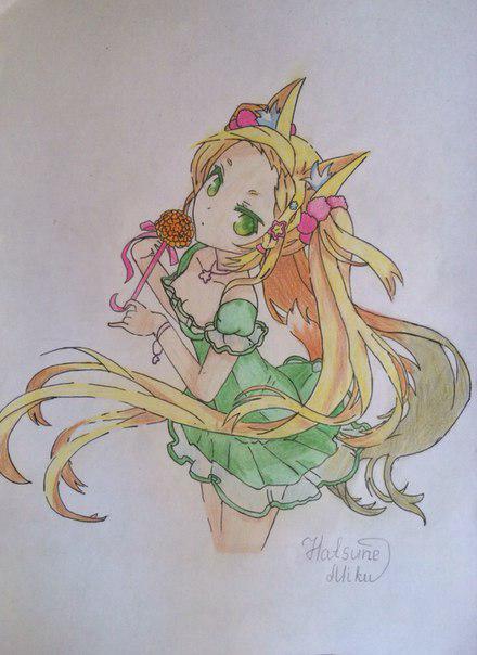 Как нарисовать и раскрасить аниме девушку-лисичку поэтапно