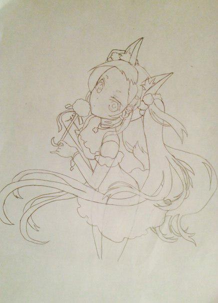 Рисуем и раскрасить аниме девушку-лисичку - шаг 9