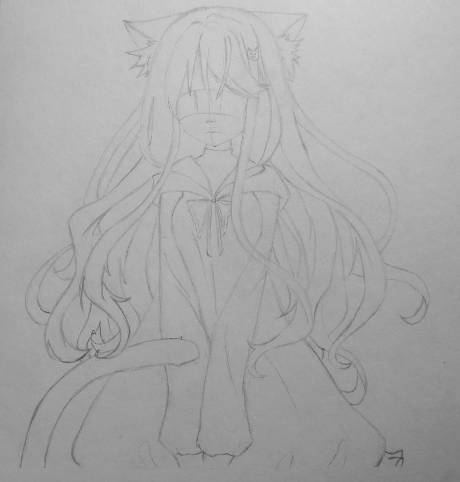 Рисуем и раскрасить аниме девушку неко - шаг 5