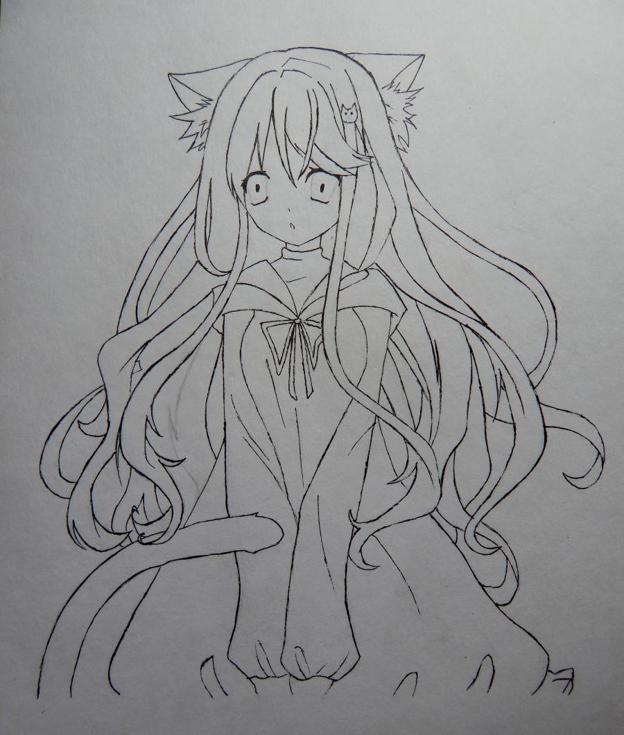 Рисуем и раскрасить аниме девушку неко - шаг 7