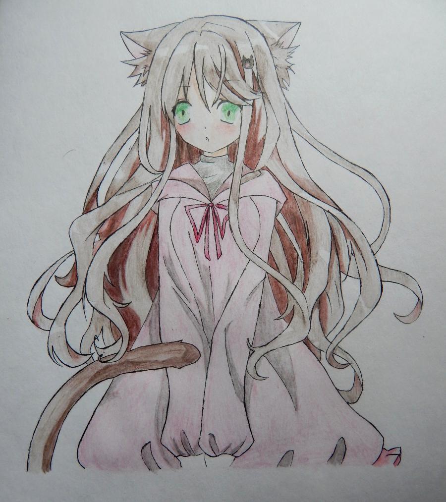 Рисуем и раскрасить аниме девушку неко - шаг 8