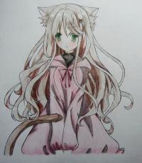 Как нарисовать и раскрасить аниме девушку неко поэтапно