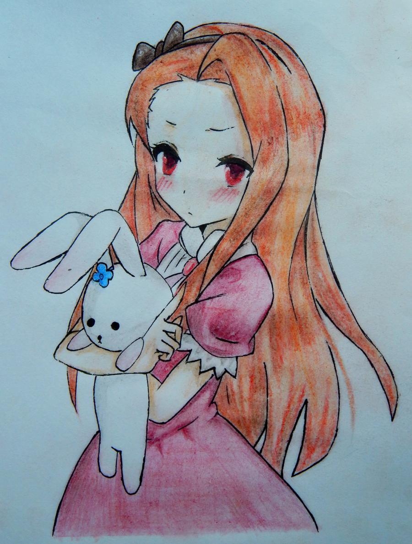 Как нарисовать и раскрасить аниме девушку с зайцем поэтапно