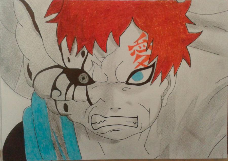 Как нарисовать и раскрасить Гаара из Naruto