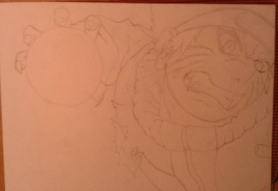 Рисуем и раскрасить Наруто цветными карандашами - шаг 4