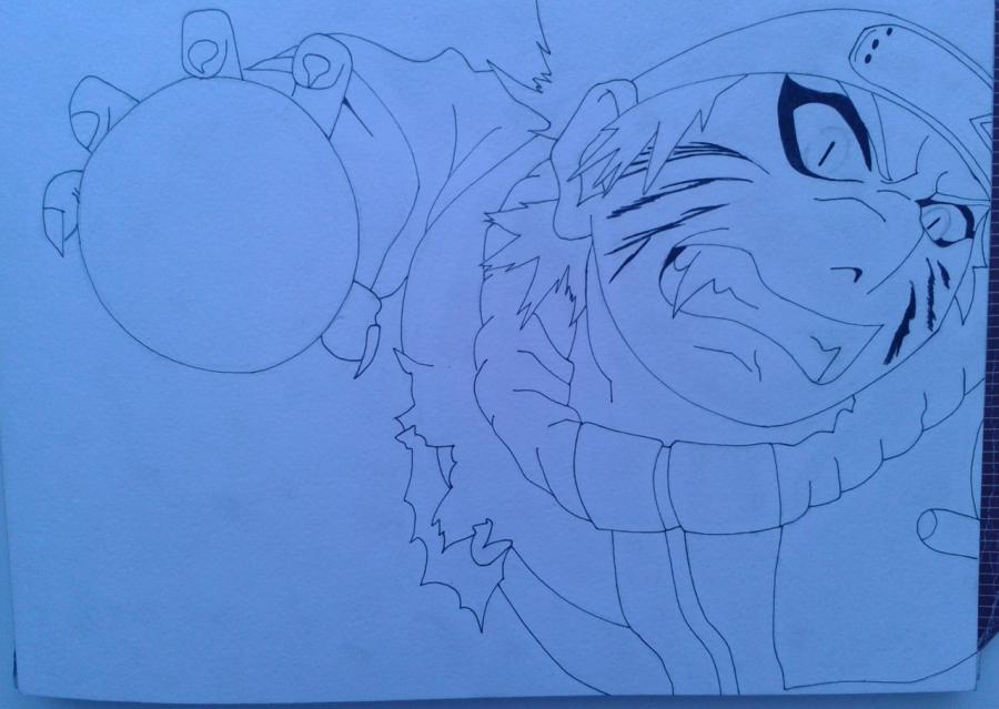 Рисуем и раскрасить Наруто цветными карандашами - шаг 5