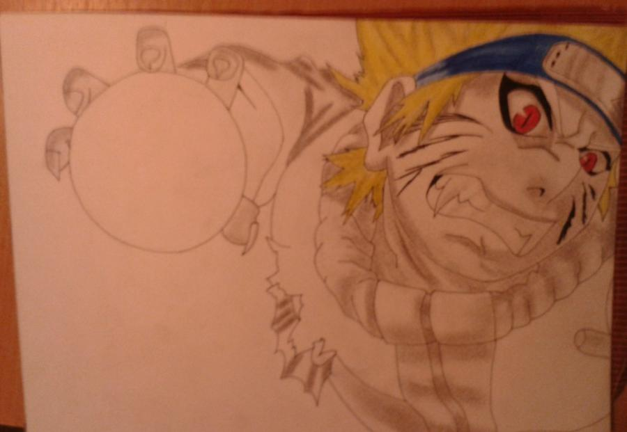 Рисуем и раскрасить Наруто цветными карандашами - шаг 7