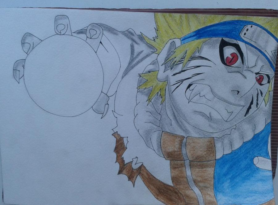 Рисуем и раскрасить Наруто цветными карандашами - шаг 8